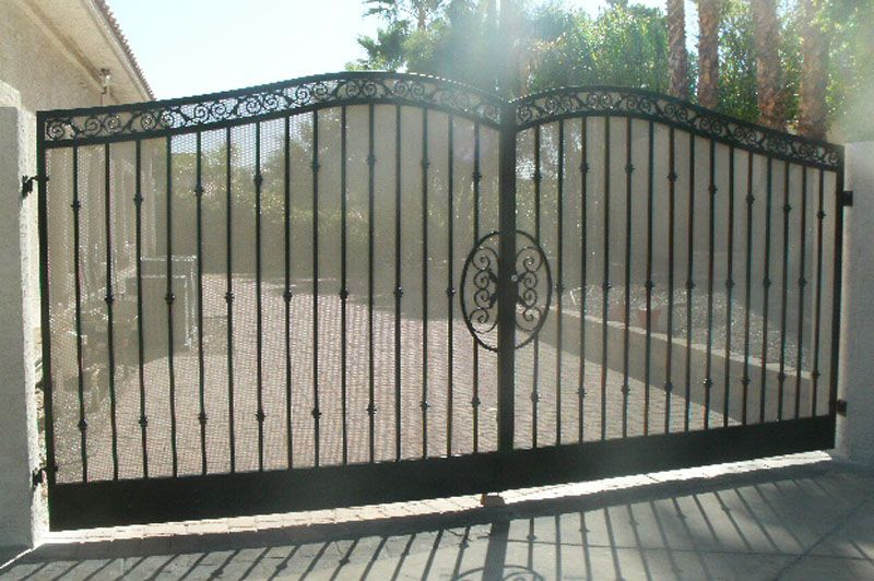 Traditional Double Gate - Item BiscayDG0086 Wrought Iron Design In Las Vegas