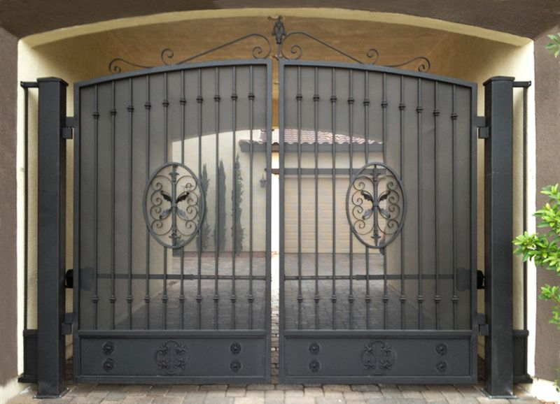 Traditional Double Gate - Item AbbeyDG0294 Wrought Iron Design In Las Vegas