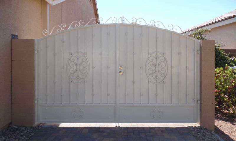 Traditional Double Gate - Item Abbey DG0294B Wrought Iron Design In Las Vegas