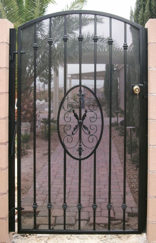 Traditional Single Gate - Item Abbey SG0081E Wrought Iron Design In Las Vegas