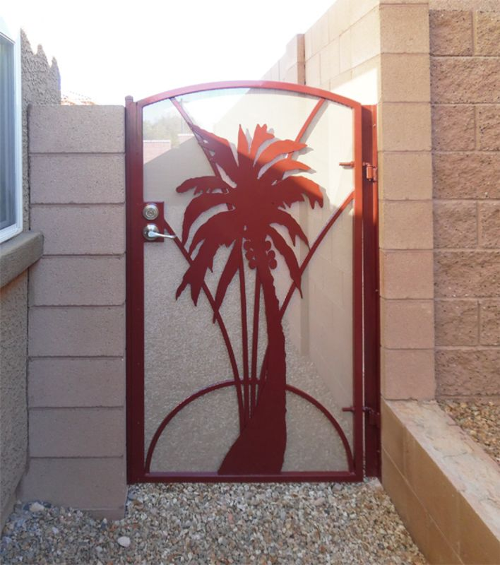 Nature Inspired Single Gate - Item Aloha SG0453 Wrought Iron Design In Las Vegas