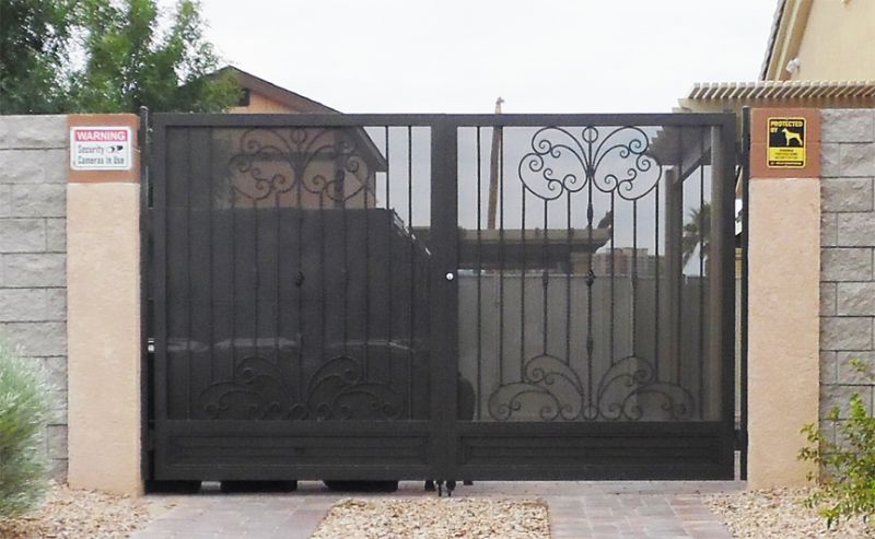 Scrollwork Double Gate - Item Athena DG0347 Wrought Iron Design In Las Vegas