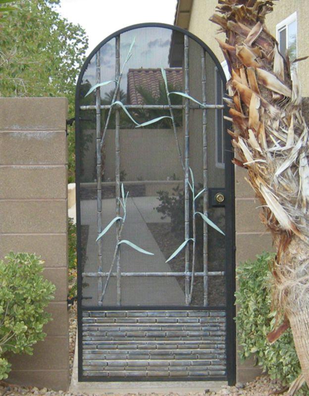 Nature Inspired Single Gate - Item BaliSG0101 Wrought Iron Design In Las Vegas