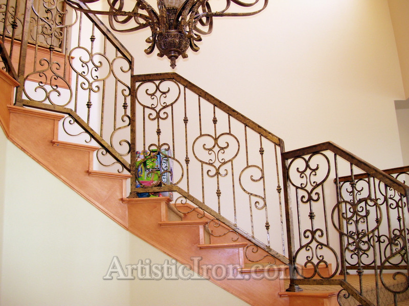 Scrollwork-Interior Railing-Item IR0027 Wrought Iron Design In Las Vegas