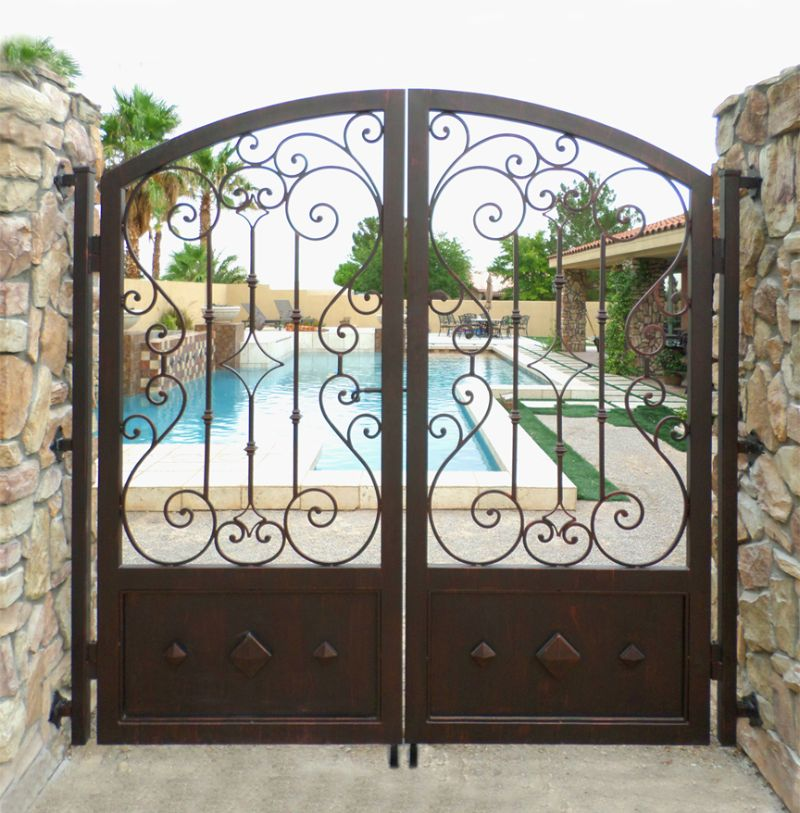 Scrollwork Double Gate - Item BiscayDG0311 Wrought Iron Design In Las Vegas