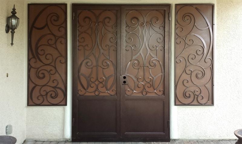 CNC Plasma Cut Front Door Wrought Iron Design In Las Vegas