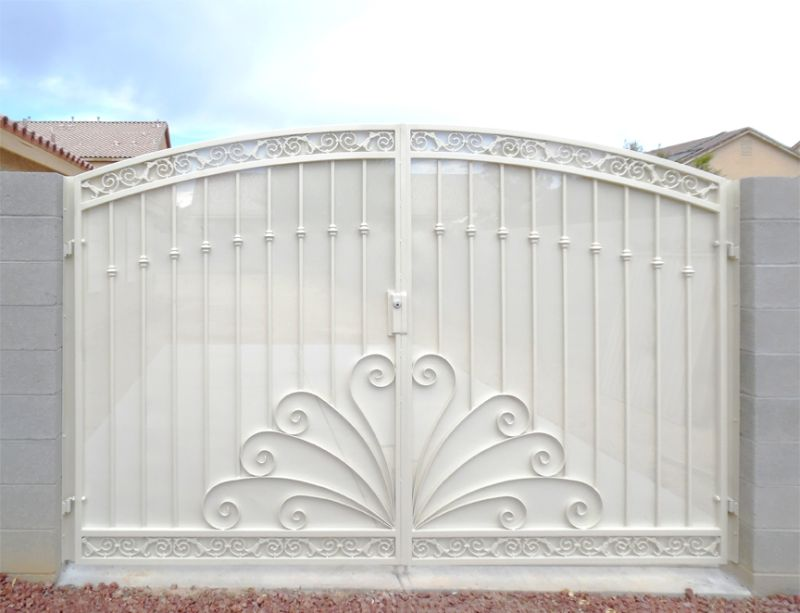 Scrollwork Double Gate - Item ChattanoogaDG0350 Wrought Iron Design In Las Vegas