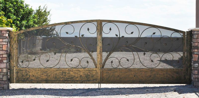 Scrollwork Double Gate - Item CrescenteDG0262 Wrought Iron Design In Las Vegas