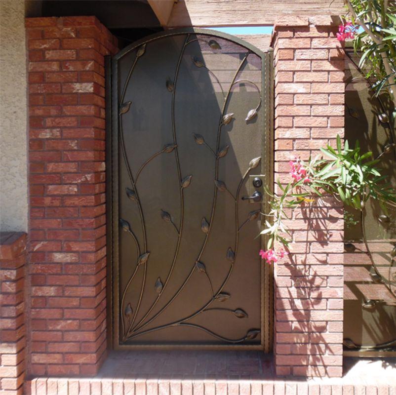Nature Inspired Single Gate - Item CrescenteSG0528 Wrought Iron Design In Las Vegas