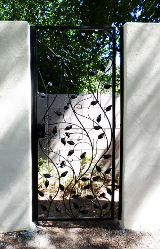Nature Inspired Single Gate - Item CrescenteSG0505 Wrought Iron Design In Las Vegas