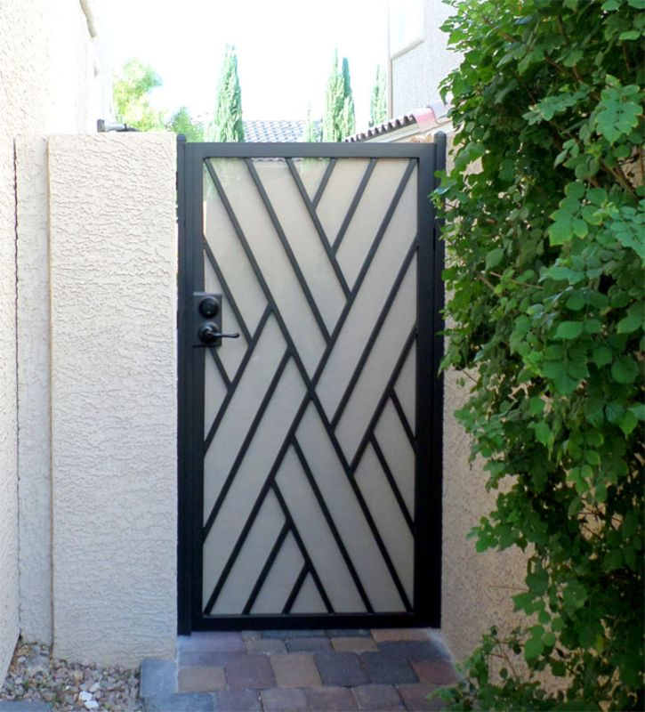 Modern Single Gate - Item CrissCrossSG0428B Wrought Iron Design In Las Vegas