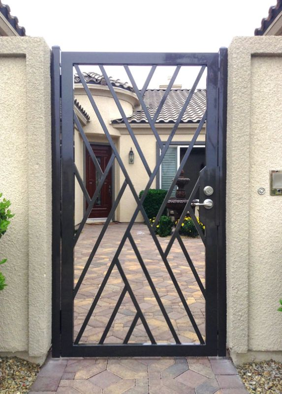Modern Single Gate - Item CrissCrossSG0428 Wrought Iron Design In Las Vegas
