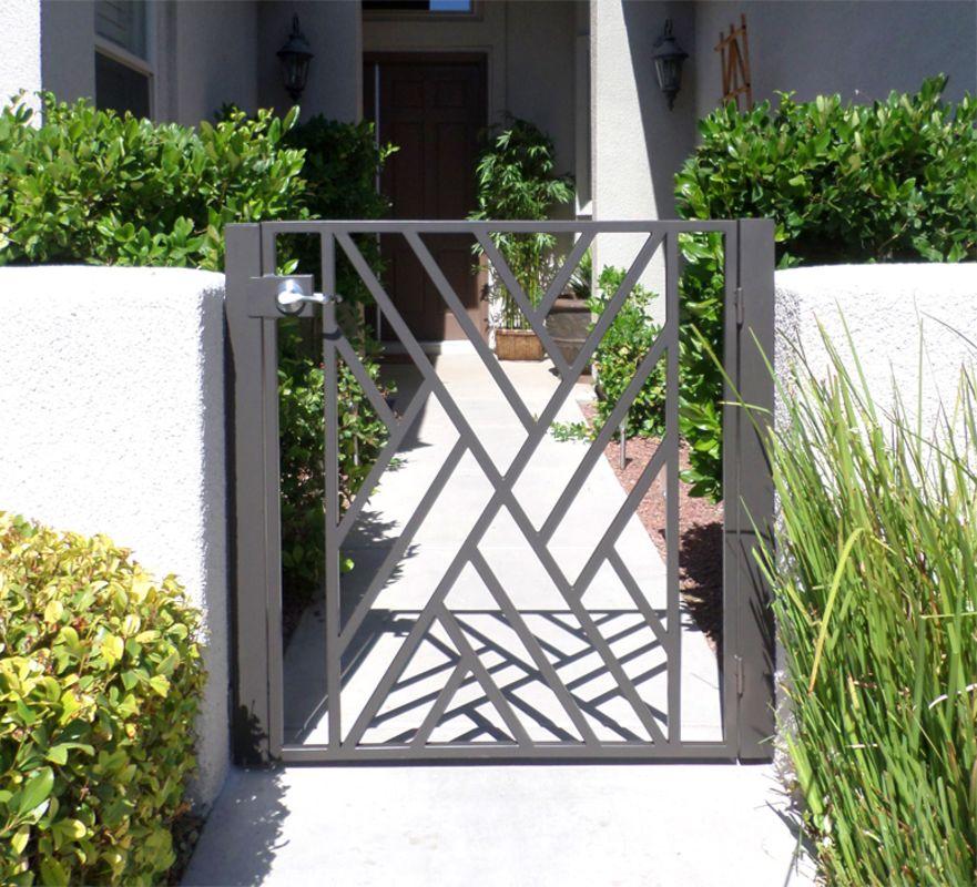 Modern Single Gate - Item CrissCrossSG0428A Wrought Iron Design In Las Vegas