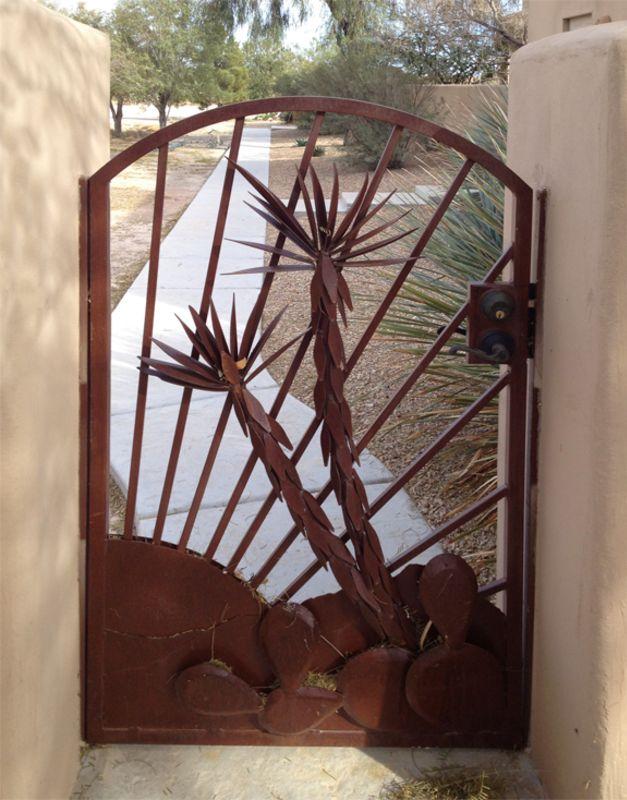 Nature Inspired Single Gate - Item Desert VistaSG0469 Wrought Iron Design In Las Vegas