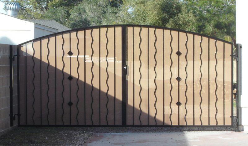 Modern Double Gate - Item DiamondbackDG0058 Wrought Iron Design In Las Vegas