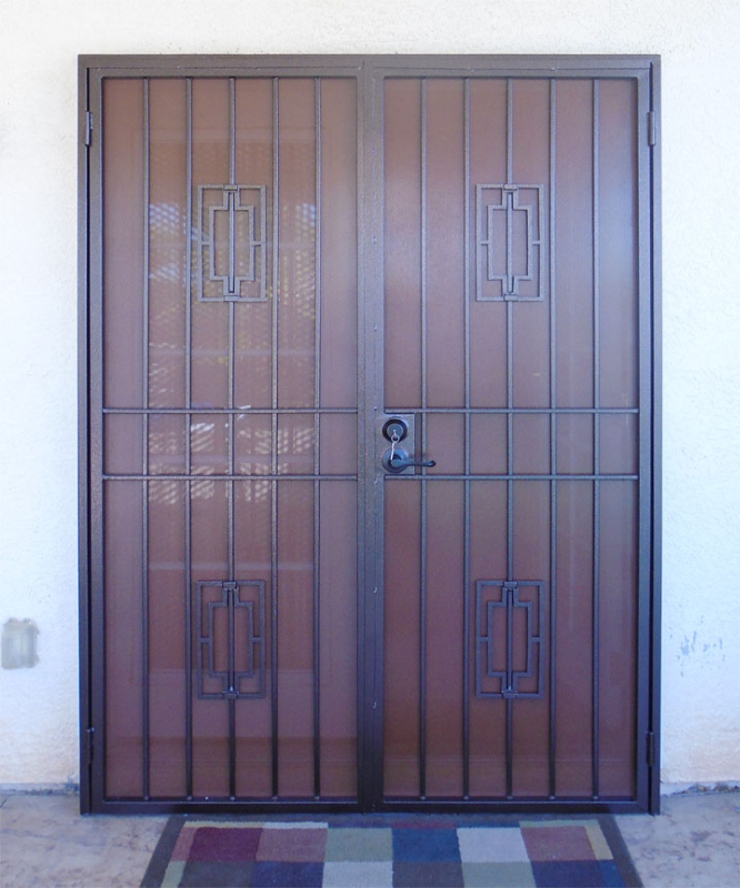Econo-line Double Security Door - Item FD0041A Wrought Iron Design In Las Vegas