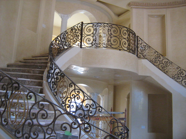 Scrollwork-Interior Railing-Item IR0017 Wrought Iron Design In Las Vegas