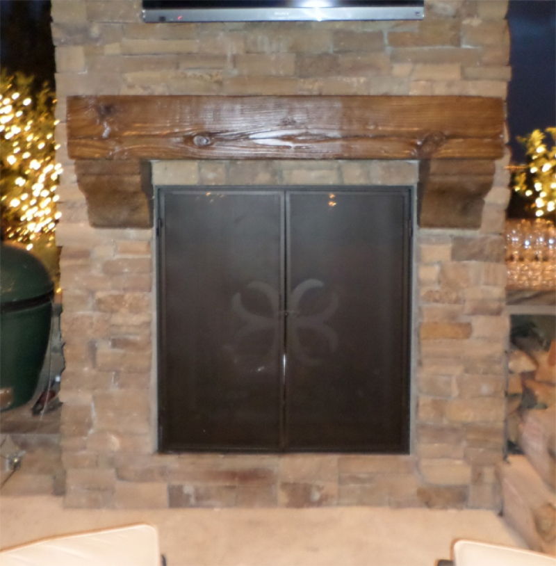 Fireplace Cover - Item FPC0009 Wrought Iron Design In Las Vegas