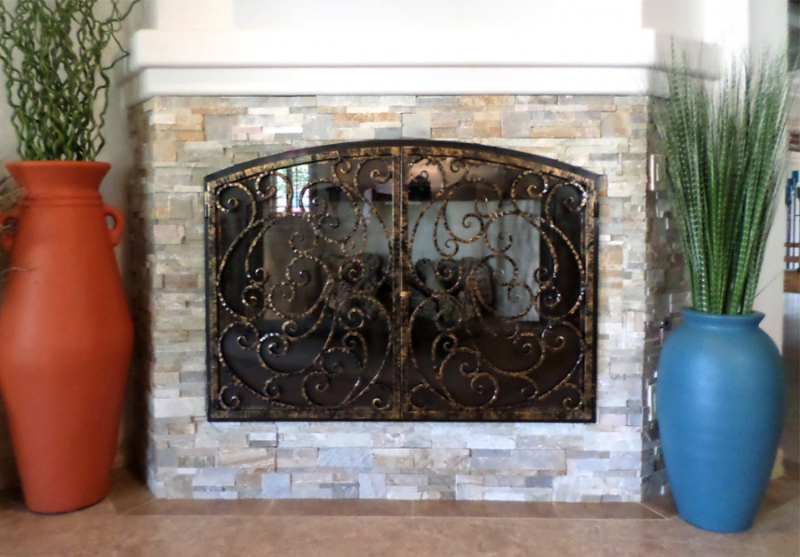 Fireplace Cover - Item FPC0010 Wrought Iron Design In Las Vegas