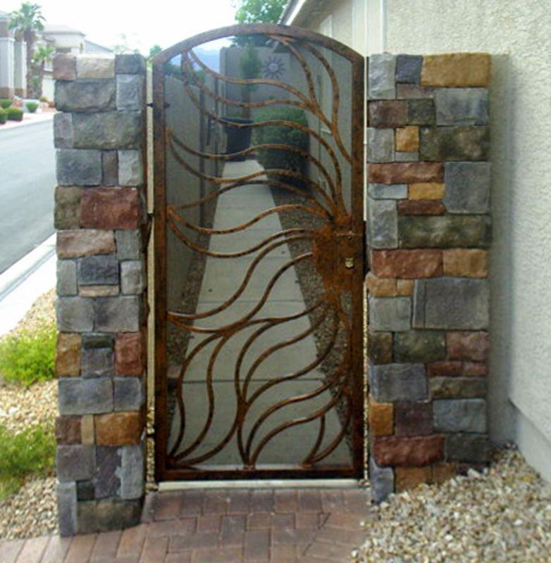Nature Inspired Single Gate - Item FlameSG0003 Wrought Iron Design In Las Vegas