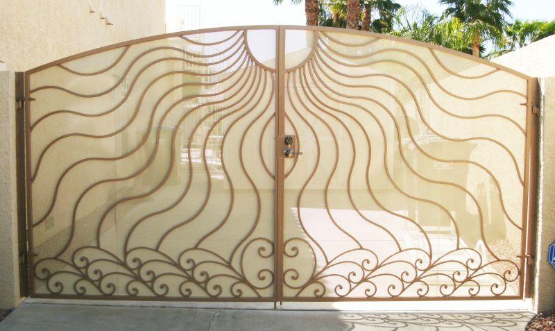 Nature Inspired Double Gate - Item GaiaDG0122 Wrought Iron Design In Las Vegas