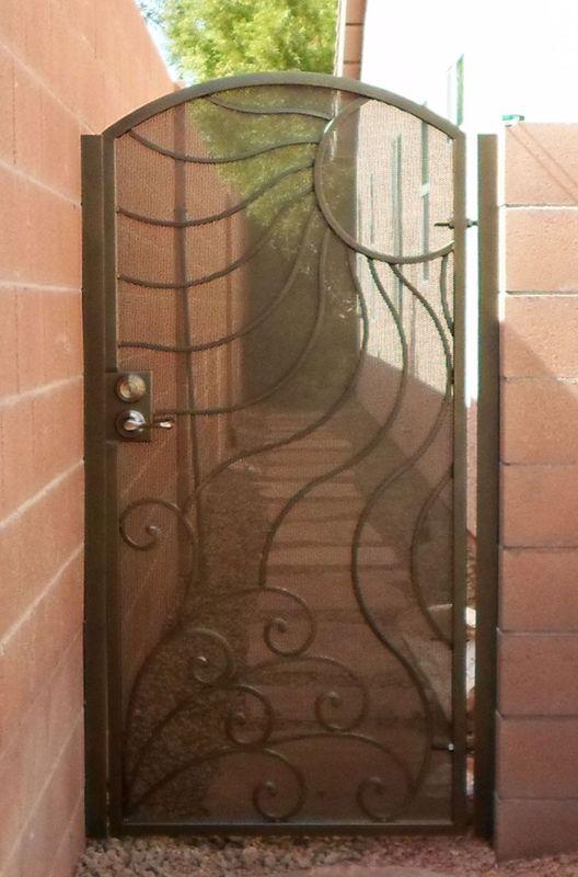 Nature Inspired Single Gate - Item GaiaSG0384 Wrought Iron Design In Las Vegas