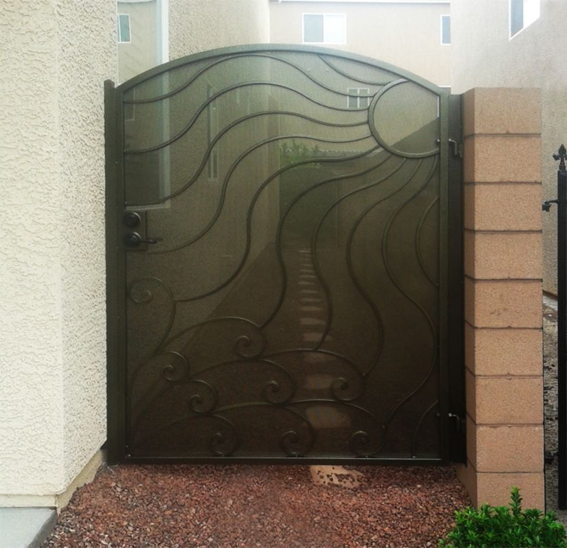 Nature Inspired Single Gate - Item GaiaSG0384A Wrought Iron Design In Las Vegas