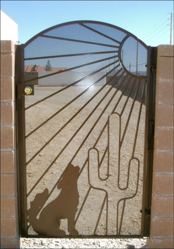 Nature Inspired Single Gate - Item HowlinSG0025 Wrought Iron Design In Las Vegas