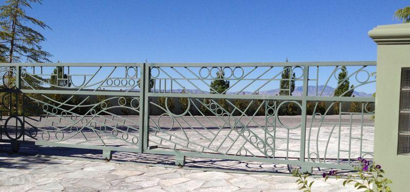 Modern Double Gate - Item KosmosDG0219 Wrought Iron Design In Las Vegas