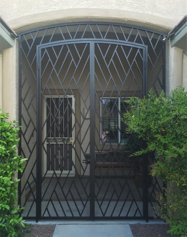 Modern CrissCross Entryway Door - Item EW0492 Wrought Iron Design In Las Vegas