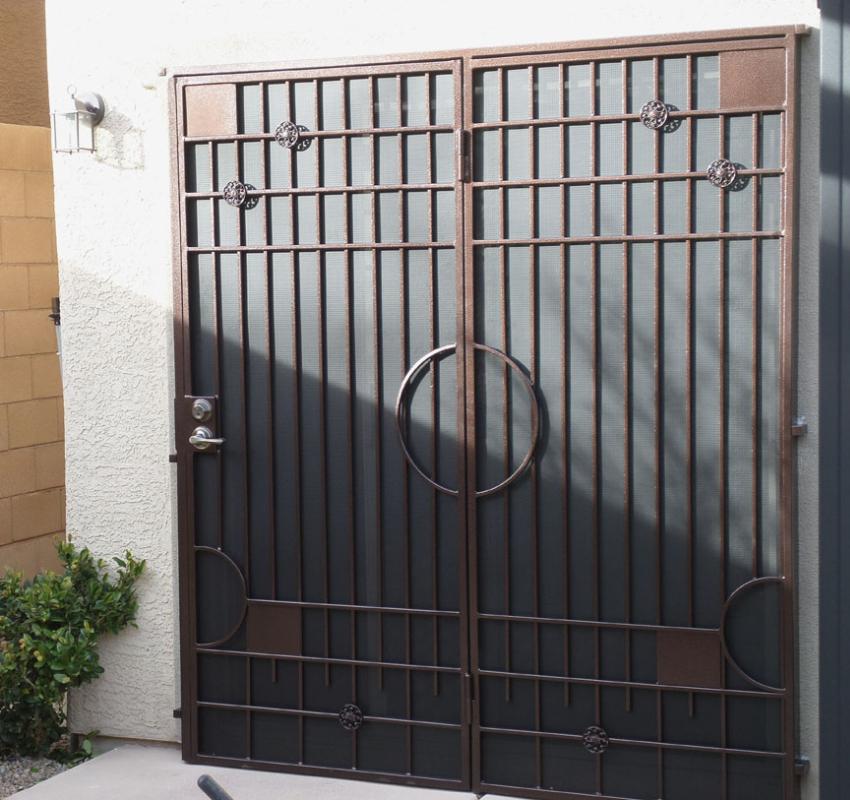 Modern Double Security Door - Item Avery FD0075 Wrought Iron Design In Las Vegas
