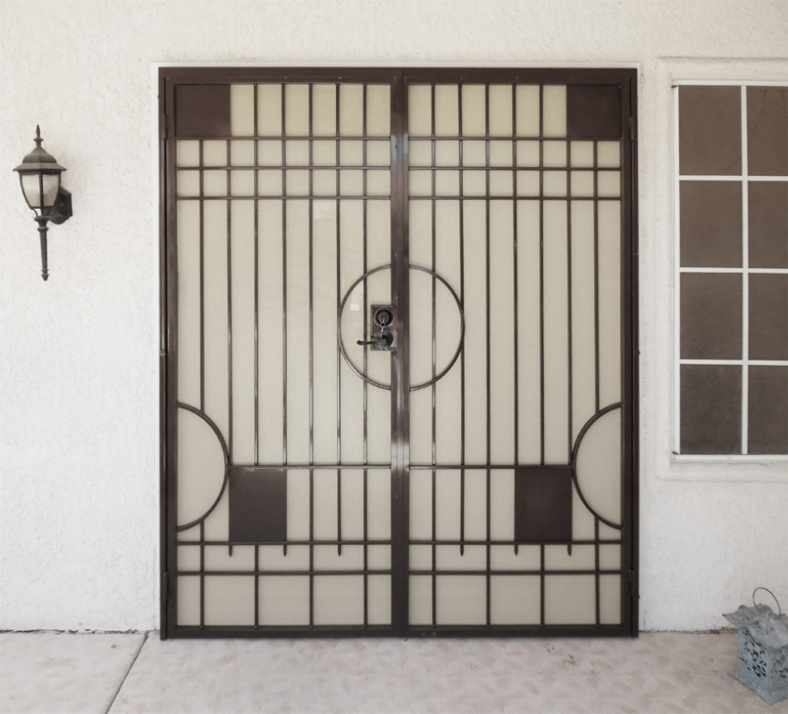 Modern Double Security Door - Item Avery FD0075C_Brown-White Wrought Iron Design In Las Vegas