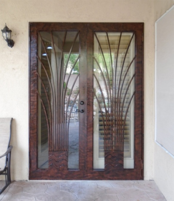 Modern Double Security Door - Item Bloom FD0109A Wrought Iron Design In Las Vegas