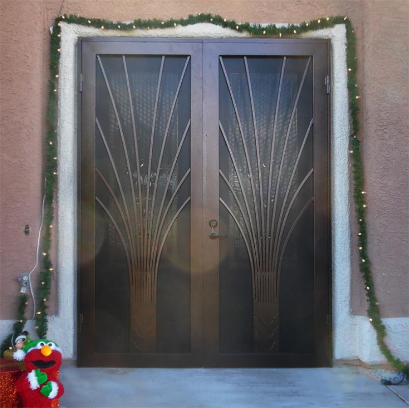 Modern Double Security Door - Item Bloom FD0109B_Brown-Black Wrought Iron Design In Las Vegas
