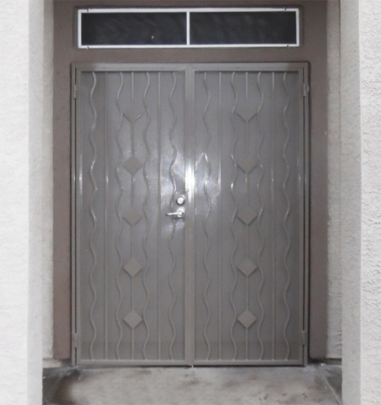Modern Double Security Door - Item Diamondback FD0142B Wrought Iron Design In Las Vegas