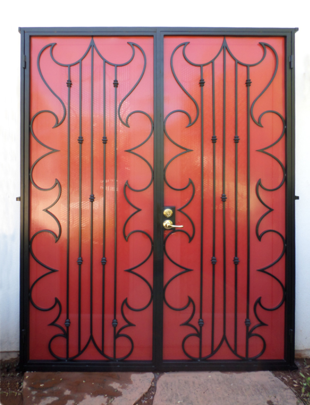 Modern Double Security Door - Item Fledermaus FD0107 Wrought Iron Design In Las Vegas