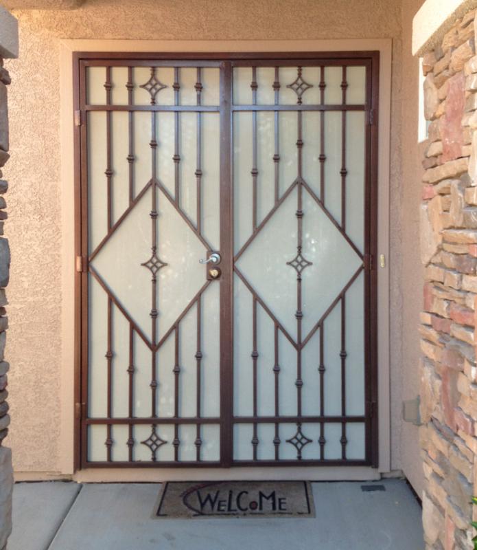 Modern Double Security Door - Item Fussen FD0081 Wrought Iron Design In Las Vegas