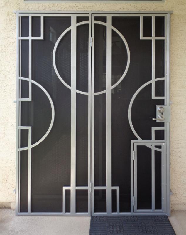 Modern Double Security Door - Item Hugo FD0124 Wrought Iron Design In Las Vegas