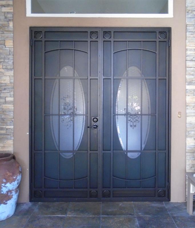 Modern Double Security Door - Item Newbury FD0110A Wrought Iron Design In Las Vegas