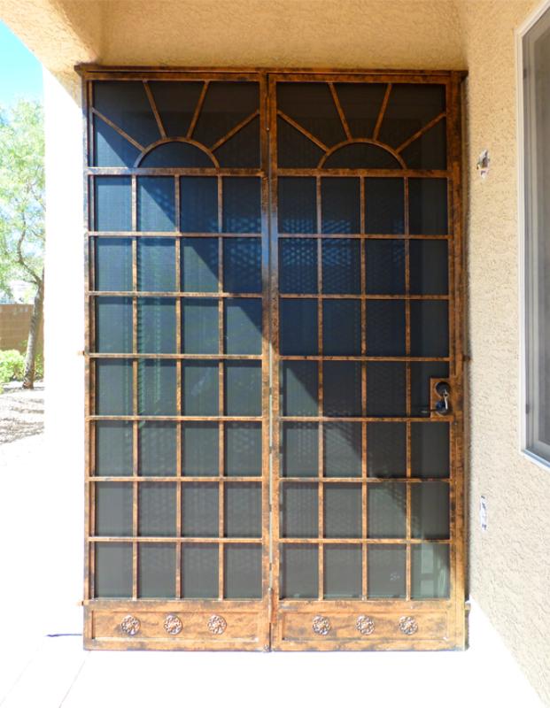 Modern Double Security Door - Item Sunrise Solar FD0084 Wrought Iron Design In Las Vegas