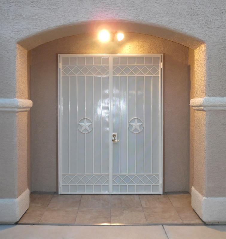 Modern Double Security Door - Item Texas Star FD0115 Wrought Iron Design In Las Vegas