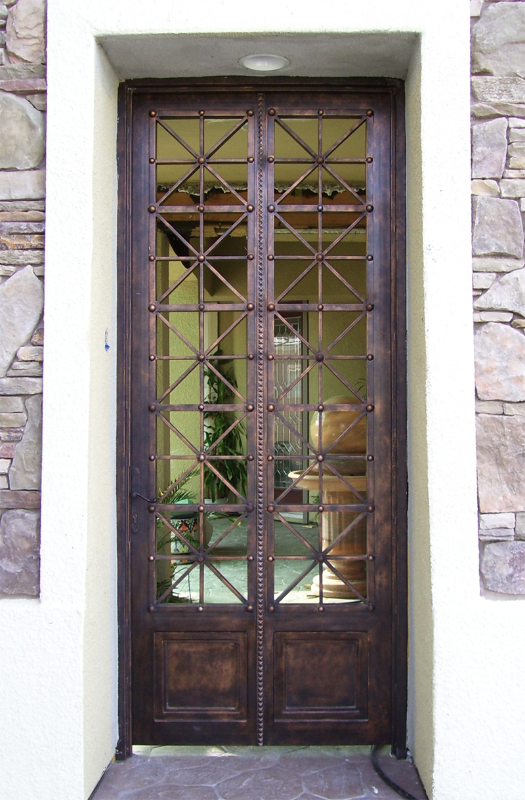 Modern Livingston Entryway Door - Item EW0266 Wrought Iron Design In Las Vegas