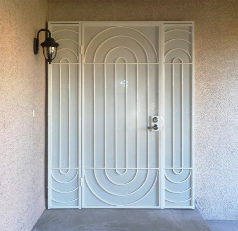 Modern Security Door - Item Daytona SD0235_Panels Wrought Iron Design In Las Vegas