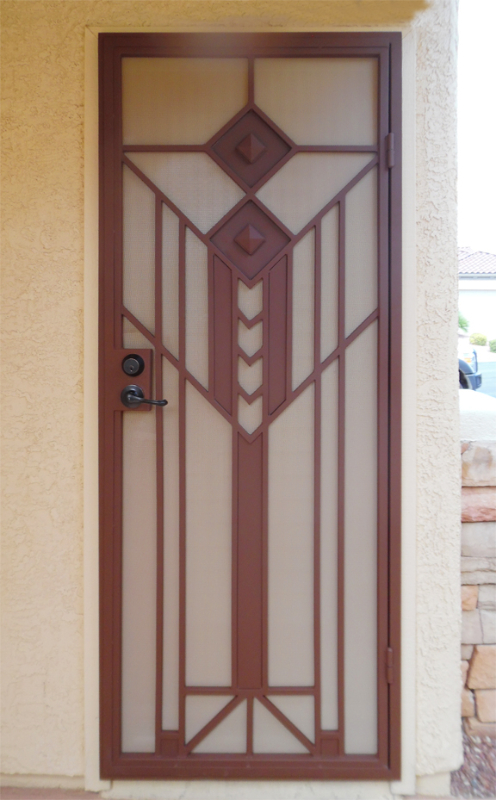 Modern Security Door - Item Geneva SD0224A Wrought Iron Design In Las Vegas