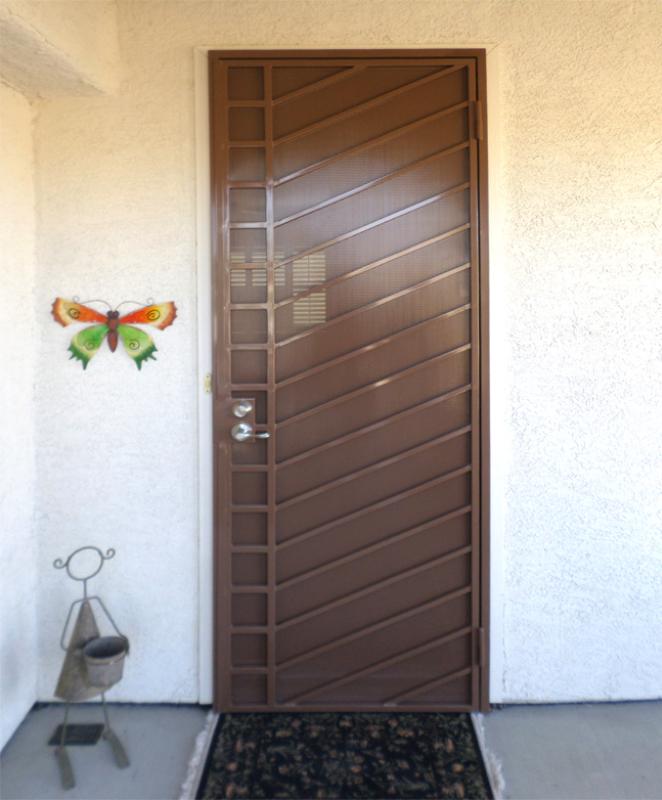 Modern Security Door - Item Jenner SD0194_Brown Wrought Iron Design In Las Vegas