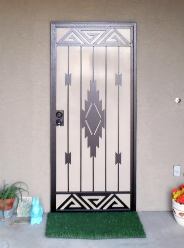 Modern Security Door - Item Santa Fe SD0228 Wrought Iron Design In Las Vegas