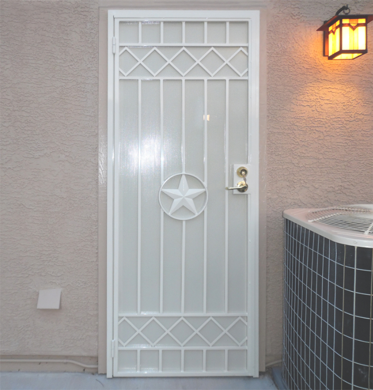 Modern Security Door - Item Texas Star SD0227 Wrought Iron Design In Las Vegas
