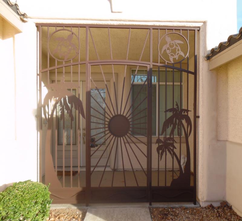 Aloha Entryway Door - Item EW0442 Wrought Iron Design In Las Vegas
