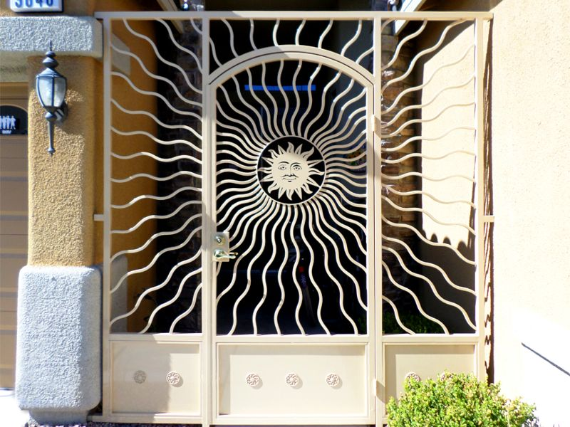 Nature Inspired Courtyard & Entryway Gates CE0261 Wrought Iron Design In Las Vegas
