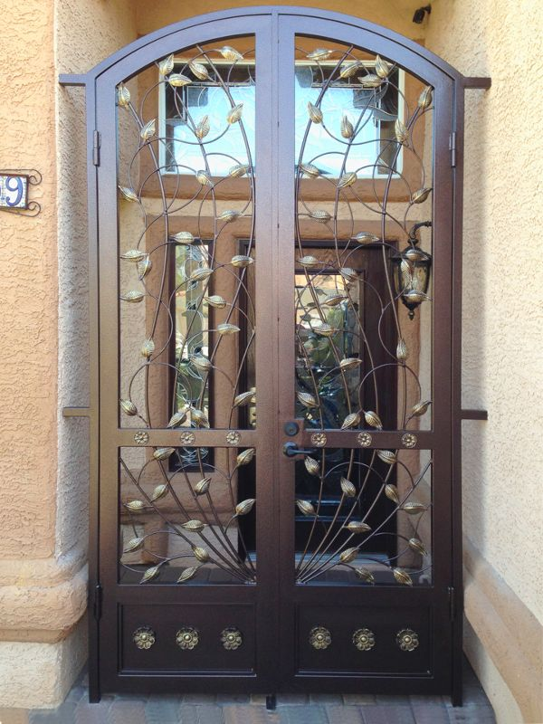 Nature Inspired Courtyard & Entryway Gates CE0282A Wrought Iron Design In Las Vegas
